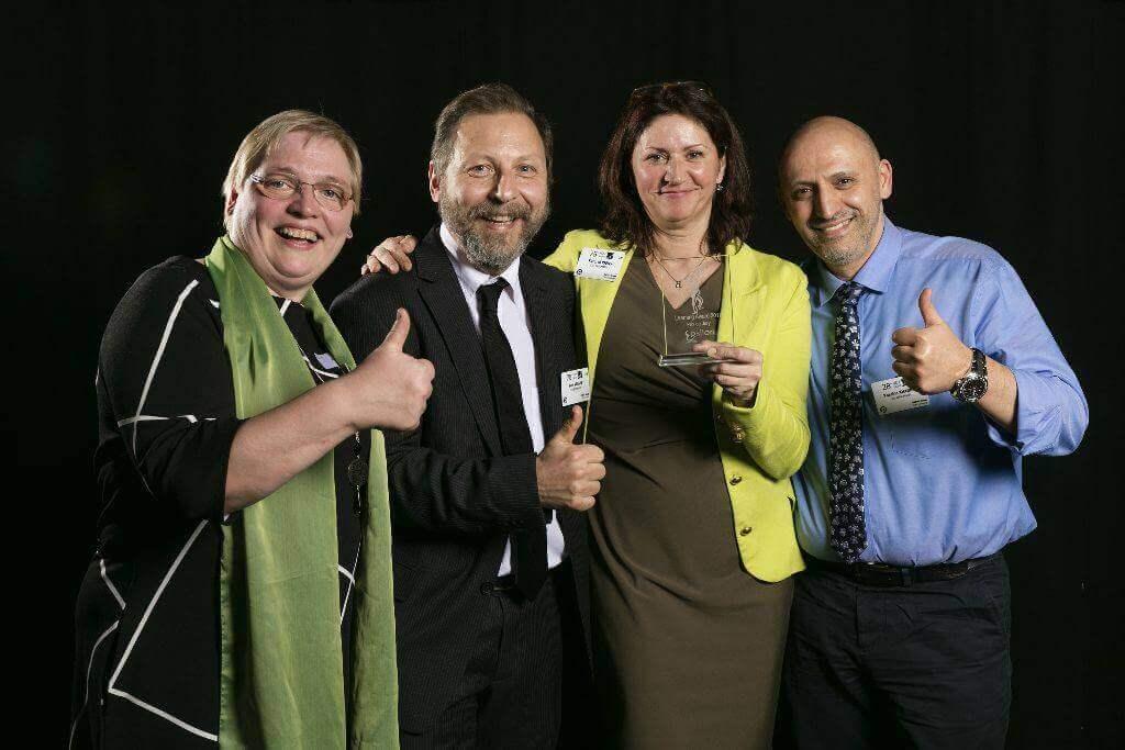 Karin Keppens en het het SBAR projectteam Yassine Khadira, Yves Velghe, Katrin Naert